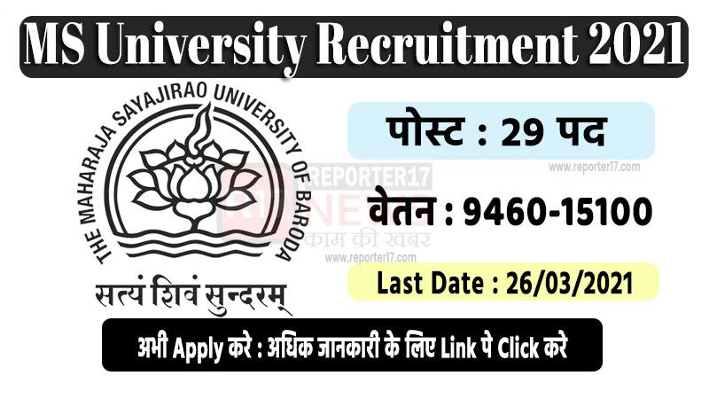 MS University Recruitment 2021