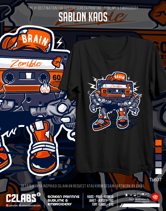 TS 607 Contoh Desain Kaos Sablon Rubber Manual Custom - C2 Labs Cellos Clothes