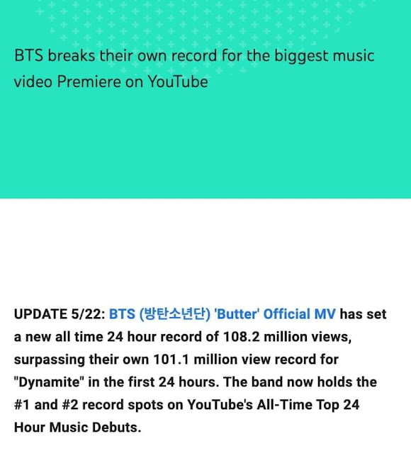 BTS Butter YouTube record