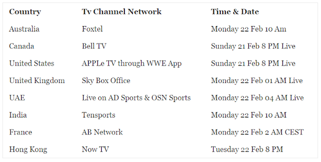 WWE Fastlane 2016 TV Channels List