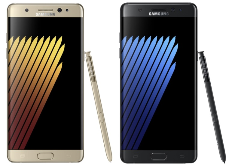 Samsung Galaxy Note 7 Gold Platinum and Black Onyx