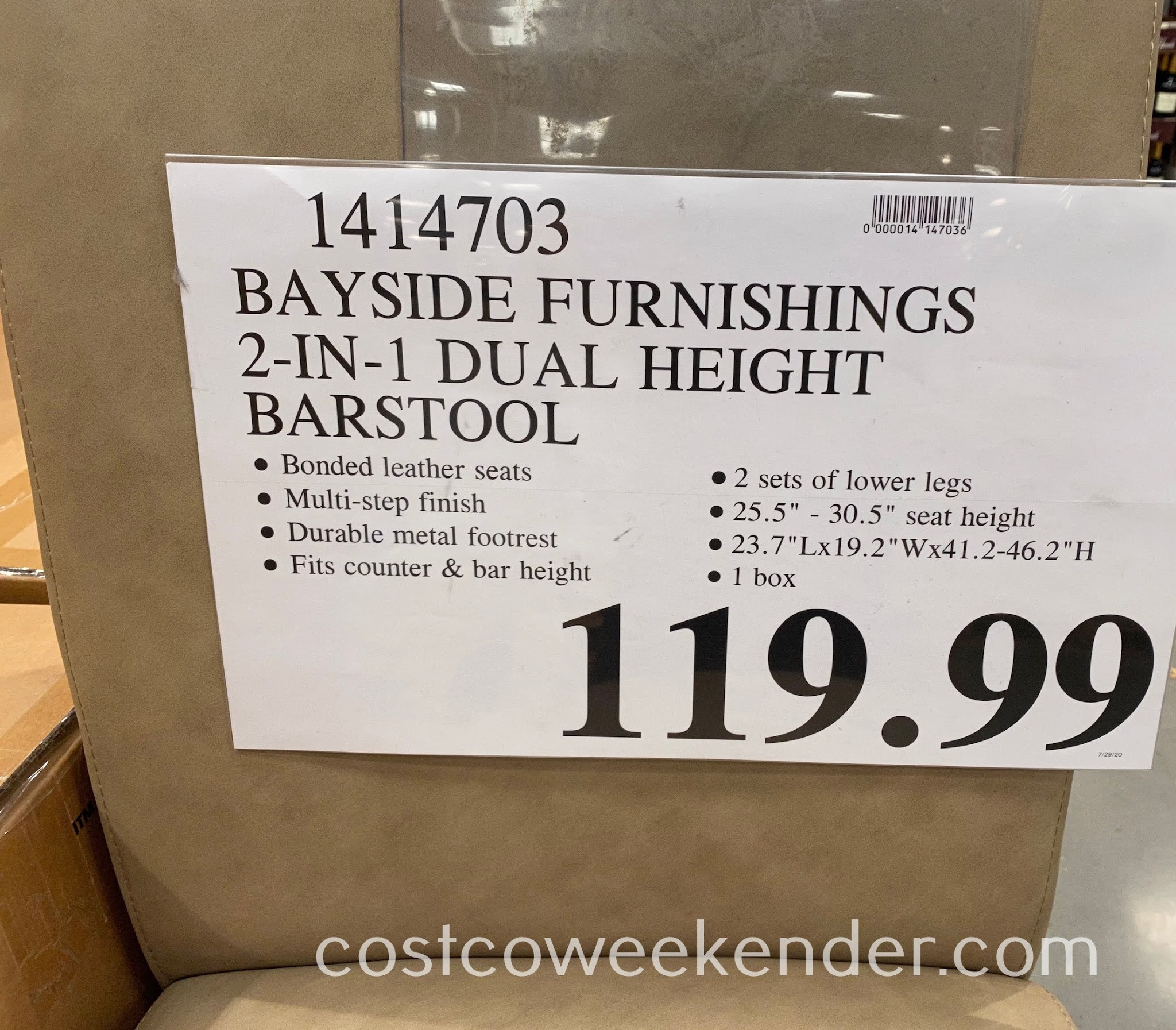 Deal for the Bayside Furnishings 2-in-1 Bar Stool at Costco