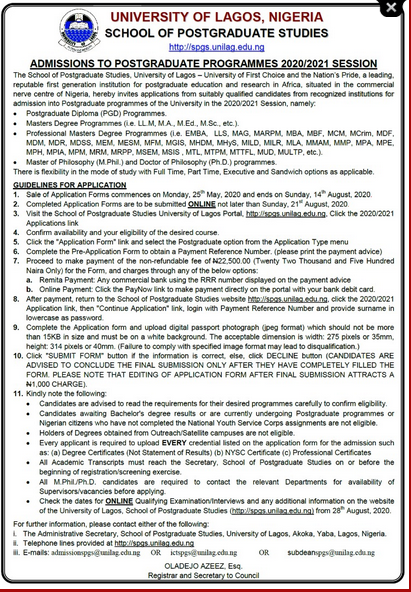 UNILAG (SPGS) Postgraduate Admission Form 2020/2021 [Full & Part-Time]