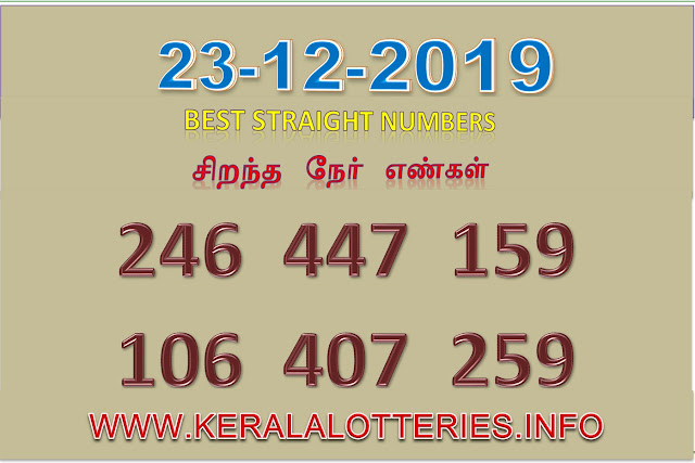 KERALA LOTTERY BEST STRAIGHT NUMBER DATED 2019.12.22