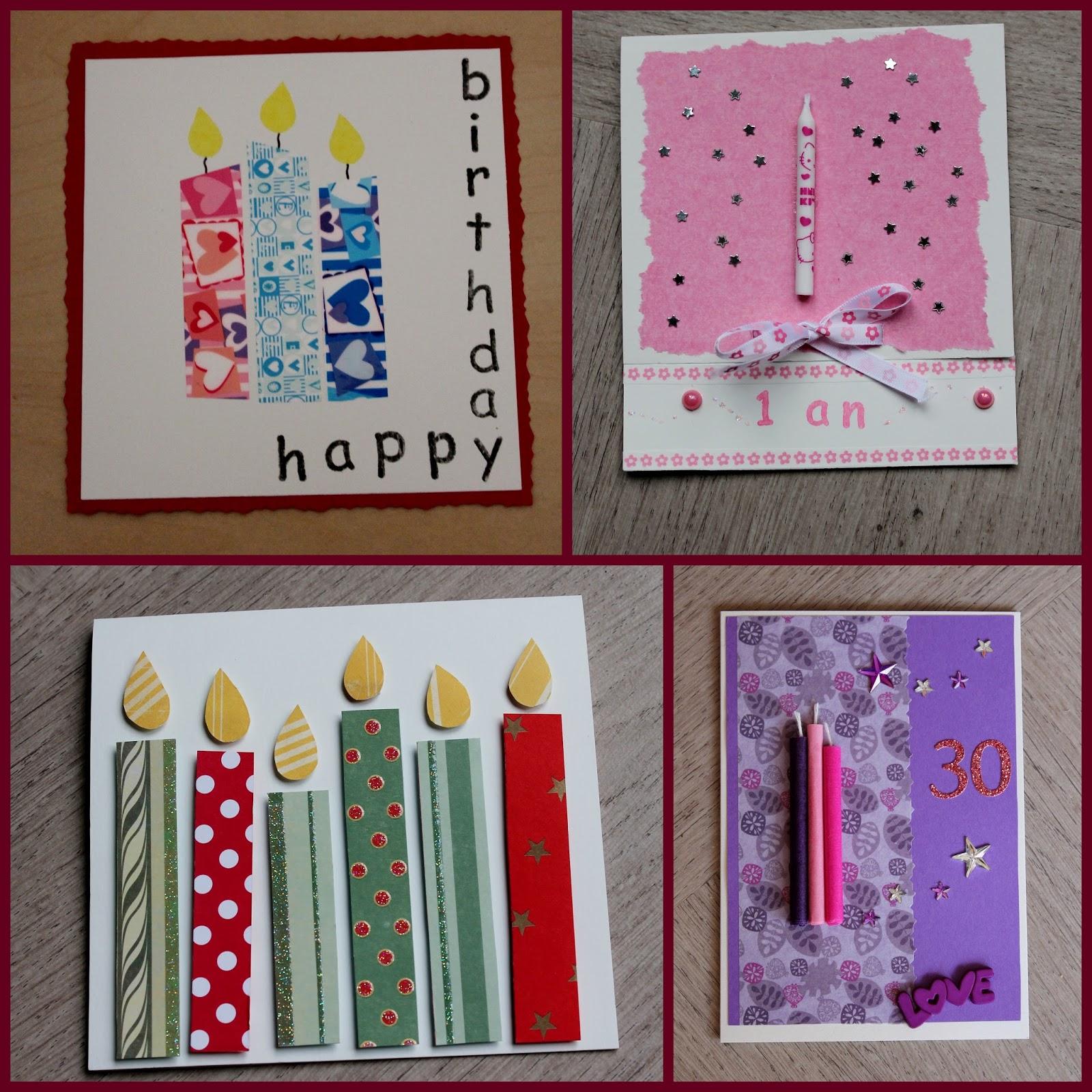 Cartes d 39 anniversaire diy th me bougies - Carte anniversaire fait main ...