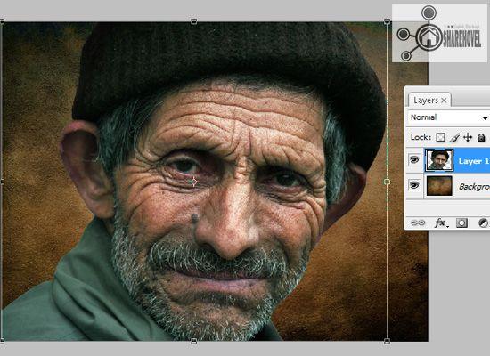 atur posisi dan ukuran gambar menggunakan free transform tool - tutorial cara membuat efek smudge painting di photoshop