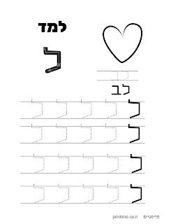 דף עבודה לימוד כתיבת אותיות