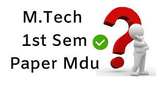 MTech 1st Sem Question Papers 2018