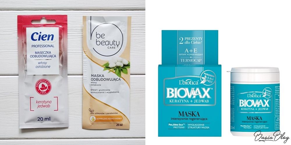 czerwona maska do włosów Cien, pomarańczowa maska Be Beauty, niebieska maska Biovax