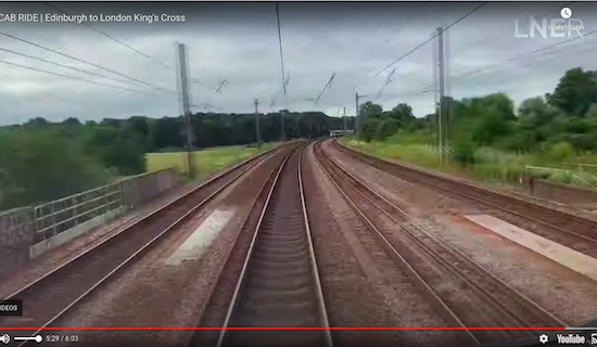 "Skimpans Bridge over Bulls Lane at 5'29"" - screen grab from the LNER video"