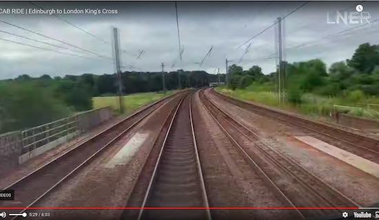 "Skimpans Bridge over Bulls Lane at 5'29"" - screen grab from the LNER video"