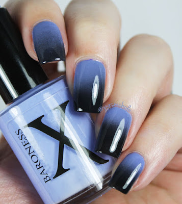 A simple gradient featuring Baroness X Latigo Indigo and China Glaze Liquid Leather