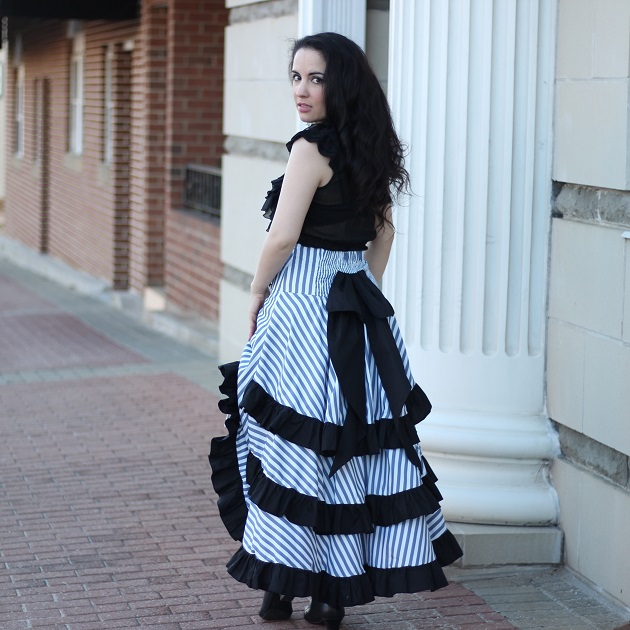 Belle Poque Striped Steampunk Victorian Skirt