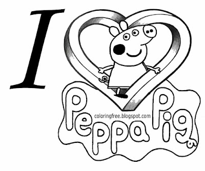 Easy to draw clipart heart printable logo I love Peppa Pig coloring pages for young kids to color in