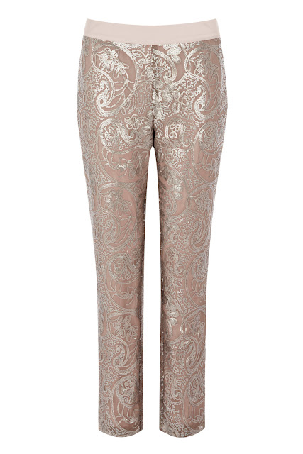 warhouse paisley embellished silver pants