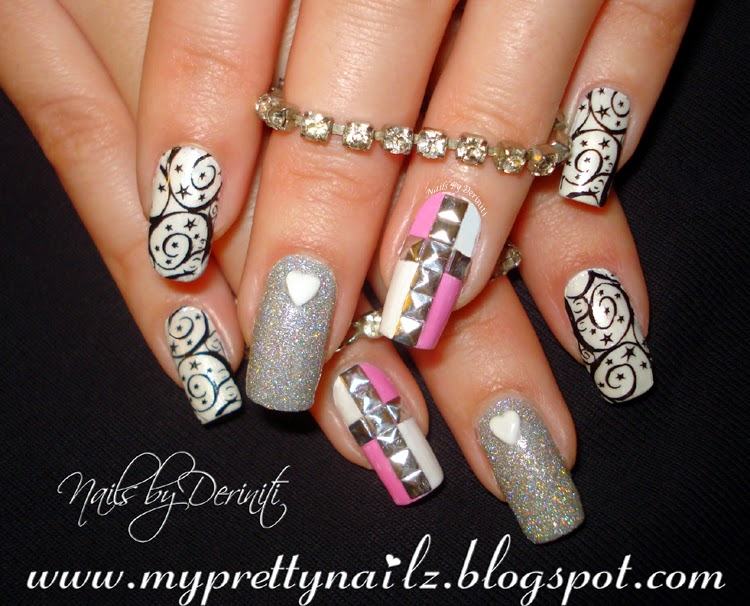 My Pretty Nailz Birthday Bling Nail Art Design And Video Tutorial And Bps Series Stamping