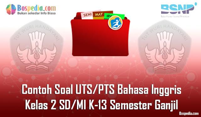 Contoh Soal UTS/PTS Bahasa Inggris Kelas 2 SD/MI K-13 Semester Ganjil