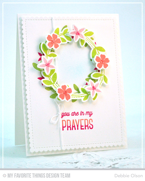 In My Prayers Card by Debbie Olson featuring the Lisa Johnson Designs Spring Wreath stamp set and Die-namics, and the Blueprints 27 Die-namics #mftstamps