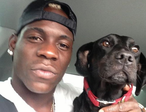 Mario Balotelli posted this picture of himself and his beloved dog Lucky