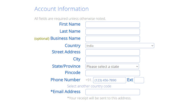 Account information in bluehost hosting