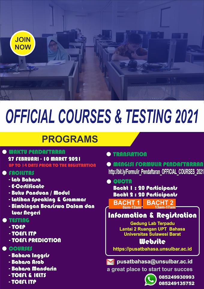 OFFICIAL COURSES & TESTING 2021 Telah Hadir Loh di Tahun 2021 ini!