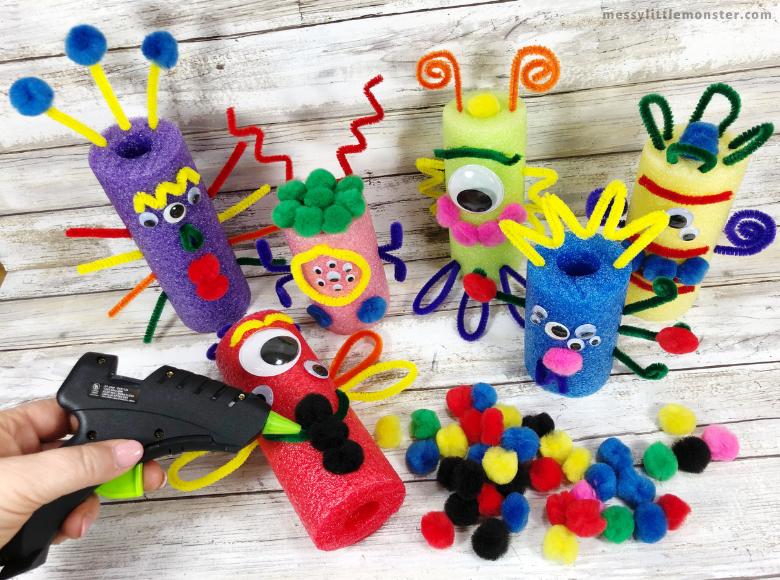 pool noodle Halloween monster crafts for kids