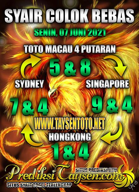 Prediksi Taysen Toto HK Senin 07 Juni 2021