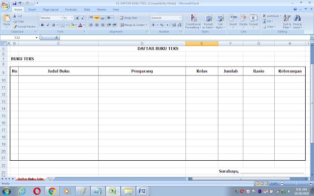 Format daftar inventaris buku teks pelajaran sekolah