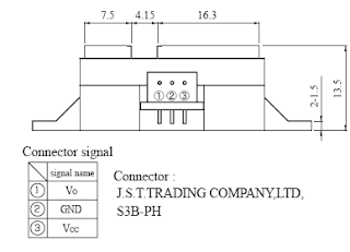 Pin diagram of Sharp IR Distance Sensor