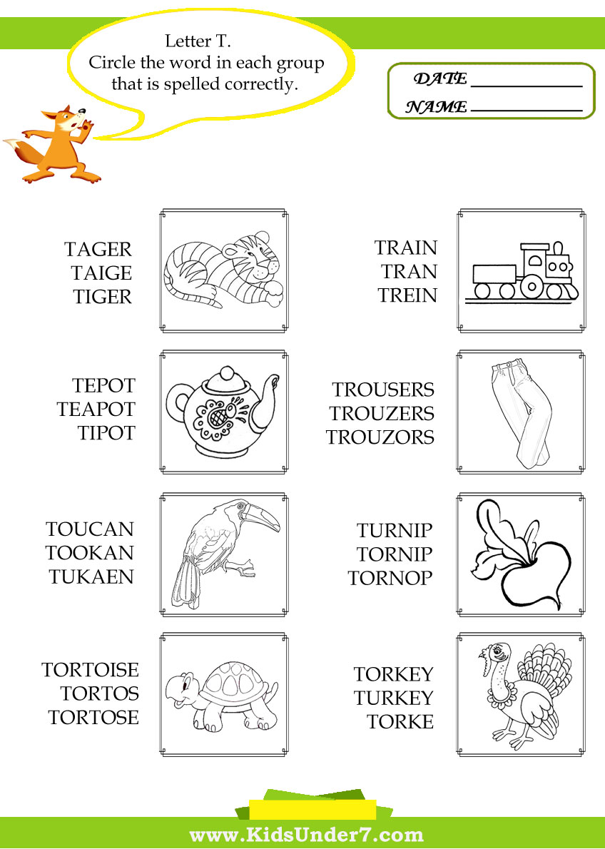 Workbooks three letter words worksheets kindergarten : Kids Under 7: Circle the Correct Spelling of 'T' Words