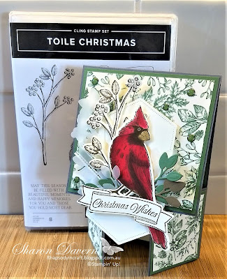 Christmas Card, Toile Christmas, Toile Tidings, Double Dutch Card, 2019 Holiday catalogue, Fancy Fold, Fun Fold, #loveitchopit, Rhapsodyincraft, Stampin' Up