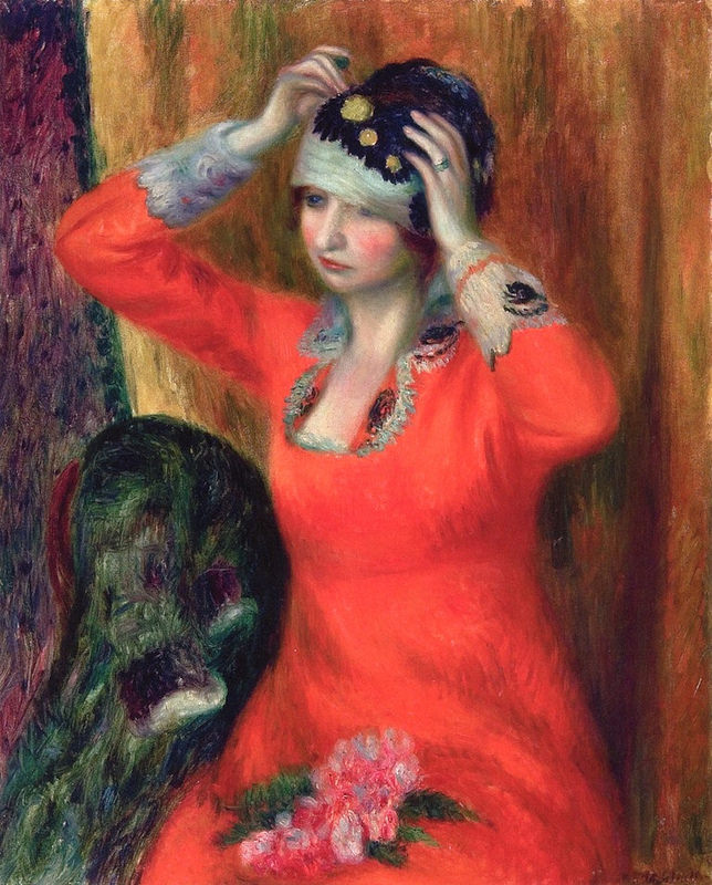 William James Glackens - Girl in Red Dress Pinning on Hat