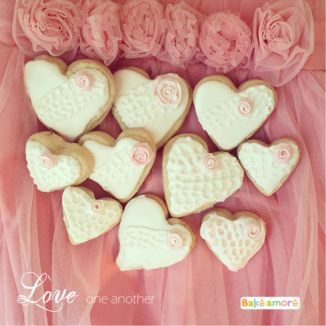 Valentine heart lace cookies