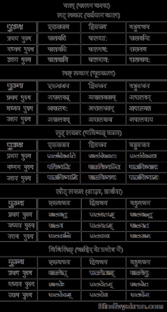 पाल् धातु के रूप संस्कृत में – Pal Dhatu Roop In Sanskrit
