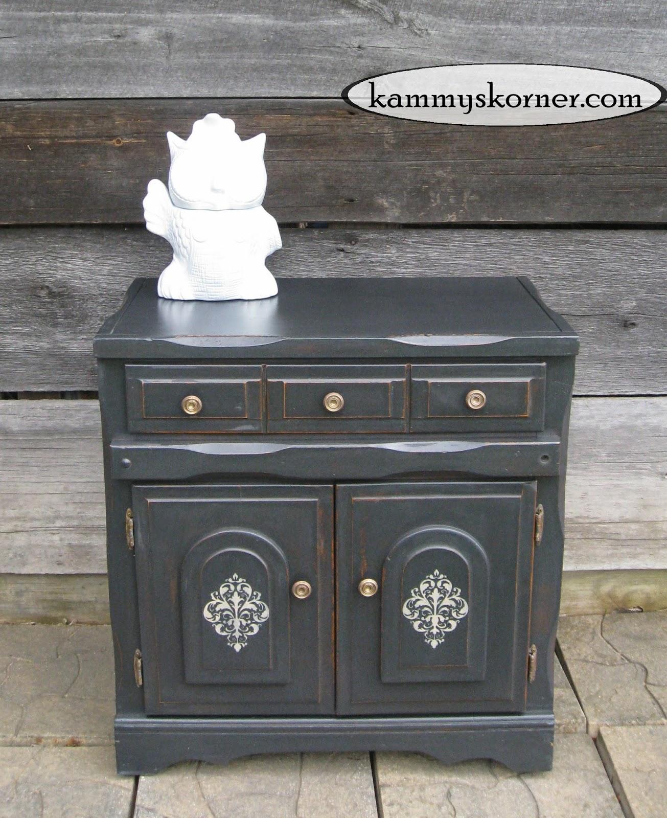 Kammy's Korner: Charcoal Black Cabinet {Distressed Chalk