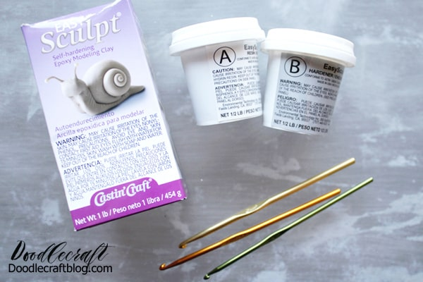 SUPPLIES NEEDED: EasySculpt Epoxy Modeling Clay  Metal Crochet Hooks  Baby Powder  Non Stick Surface  (teflon pictured)  Disposable Gloves  Gold Spray Paint  Gilding Adhesive  Metallic Foil for nails  Clear High Gloss Envirotex Spray