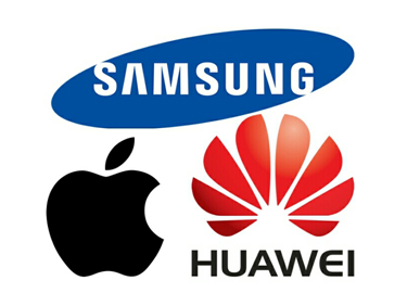 Huawei, Samsung and Apple Logos