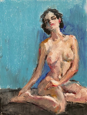 drawing of seating nude woman blue background