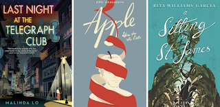 Three book covers. Last Night at the Telegraph Club, Apple to the Core and A Sitting in Saint James