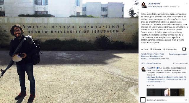 Wyllys apoia o sionismo que comete crimes de guerra na Palestina
