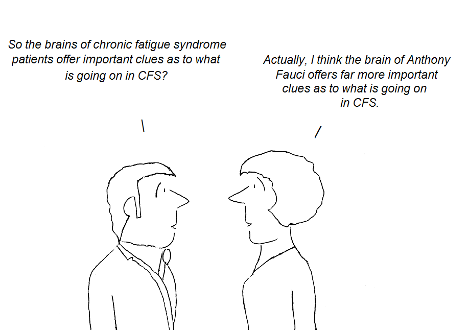 cfs, chronic fatigue syndrome, anthony fauci, hhv-6, cartoon