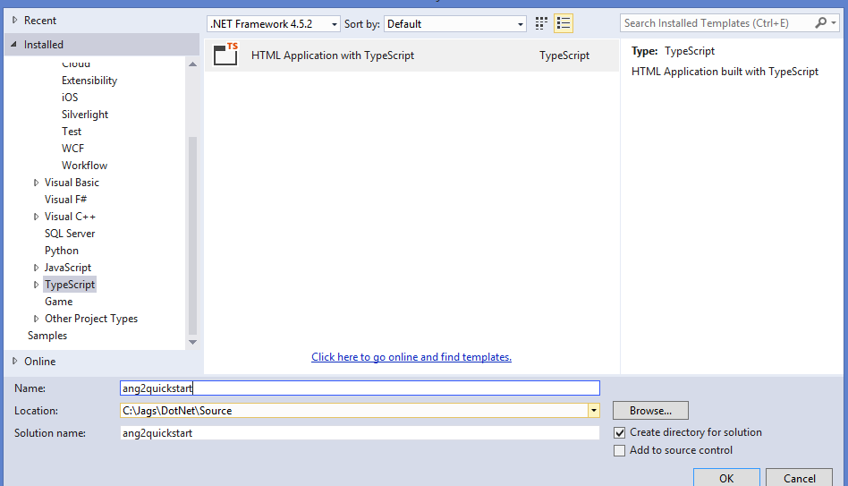 Angular 2 Quick Start tutorial with Visual Studio 2015 for