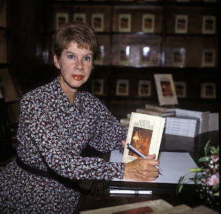 Anita Brookner at a signing session for her 1989 novel, Lewis Percy