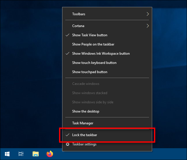 حدد تأمين شريط المهام في Windows 10