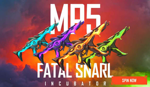 MP5 Fatal Snarl New Incubator Free Fire Redeem Code For Free