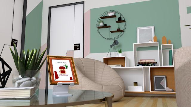 Ruang Tamu Tema Graphical Pop (desain oleh Ella Fitria)