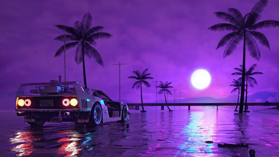 Car, Night, Moon, Digital Art, 4K, #6.2641