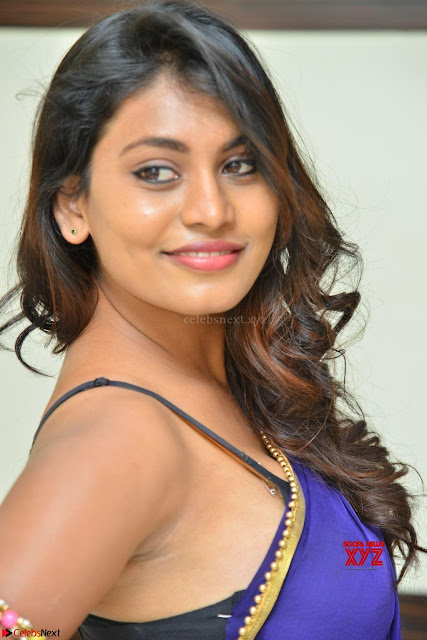 Actress Priya in Blue Saree and Sleevelss Choli at Javed Habib Salon launch ~  Exclusive Galleries 001.jpg