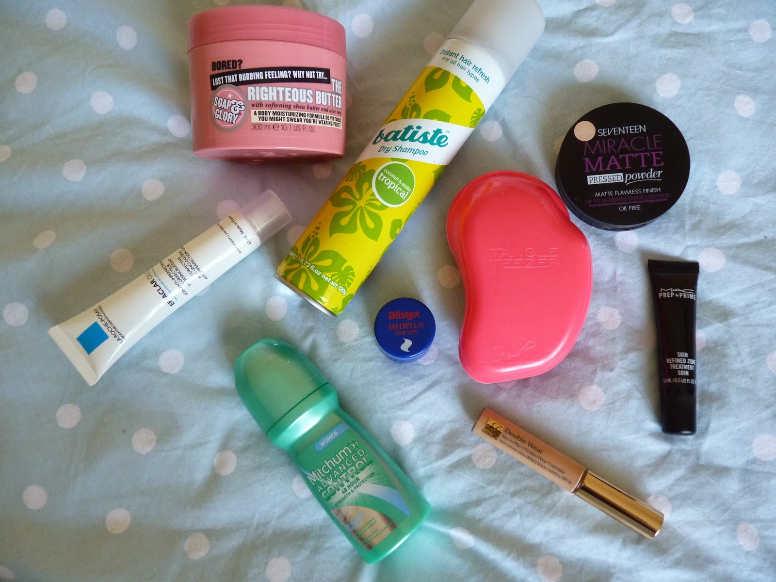 Essential Beauty Products MAC Estee Lauder Mitchym Blistex Tangle Teaser La Roche Posay Soap and Glory Batiste