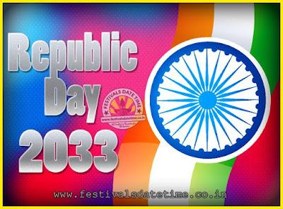 2033 Republic Day of India Date, 2033 Republic Day Calendar